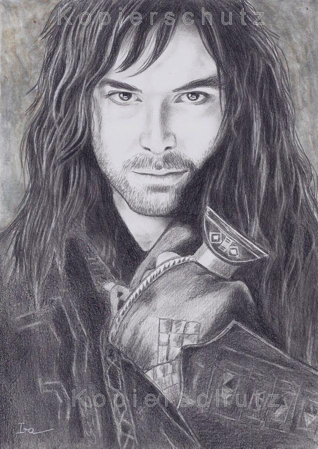 Kili - Zwerg, Dwarf, Hobbit, Herr der Ringe, original Zeichnung,Drawing,Porträt