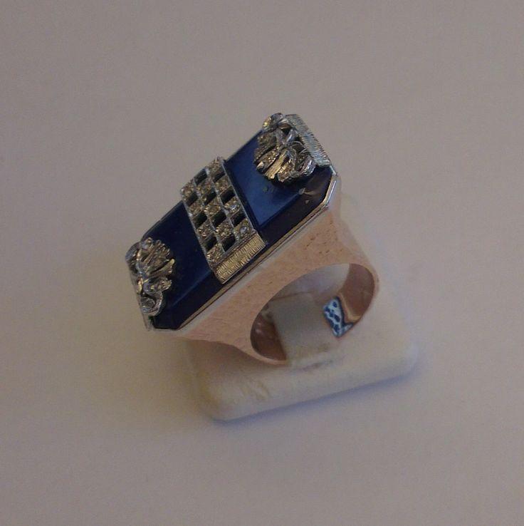 Anello in Oro Bianco e Giallo con Lapislazzuli e Diamanti