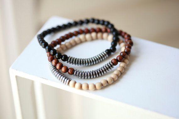 Mens Beaded Bracelet  With Hematite by ManUpInc on Etsy, $19.00