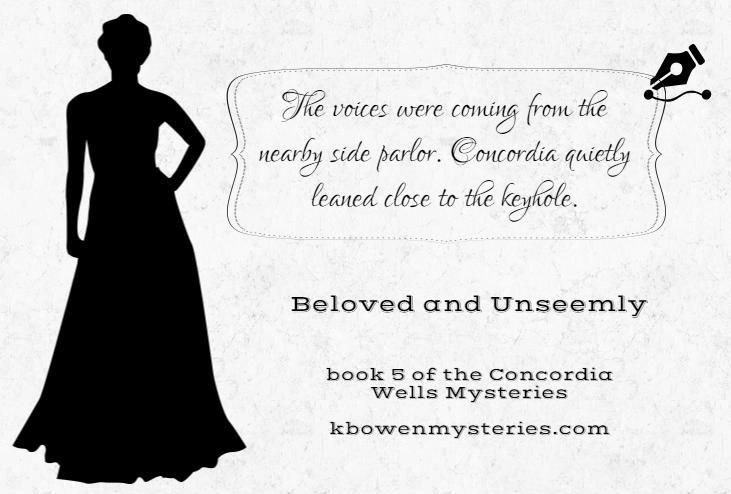 Day 5 of the quote-a-day giveaway to celebrate the release of BELOVED AND UNSEEMLY. Can you tell that Concordia is a bit...nosy? Details here: http://kbowenmysteries.com/posts/the-twelve-days-of-concordia-giveaway/ Thanks!