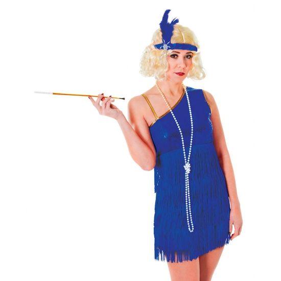 Blauwe roaring twenties jurk  Jaren 20 glamour jurk blauw. Kobalt blauwe roaring twenties jurk voor dames. Exclusief accessoires.  EUR 29.95  Meer informatie