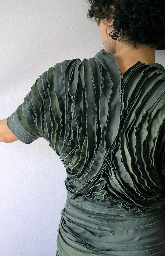 Constructed textiles with 3D textures - sculpted fabric manipulation for fashion; layered fabric strips, stitch structure // Josipa Stefanec