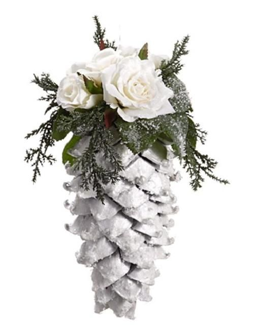 "9.5"""" Snow Drift Large Glittered Pine Cone with Roses Christmas Ornament"