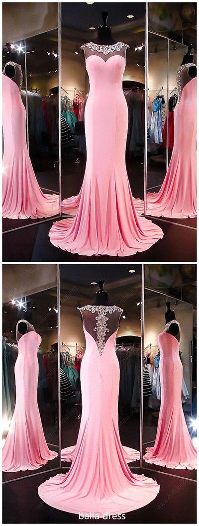 Unique Trumpet/Mermaid Scoop Neck Silk-like Satin Beading Pink Prom Dresses