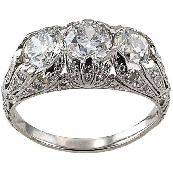 Preowned Edwardian Three Stone Diamond Platinum Engagement Ring ($8,900) ❤ liked on Polyvore featuring jewelry, rings, engagement rings, multiple, three stone ring, wide engagement rings, pre owned engagement rings and three stone engagement ring