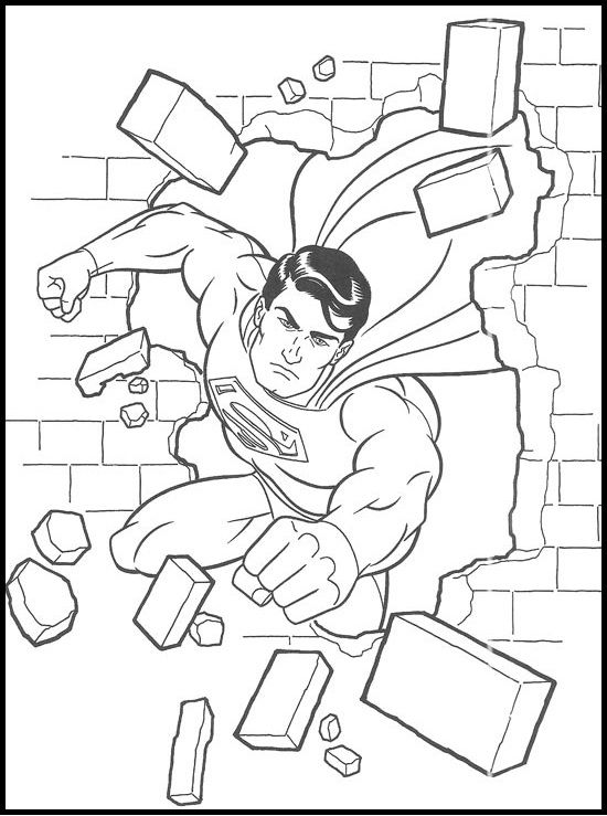 Destroying Superman Wall coloring picture for kids
