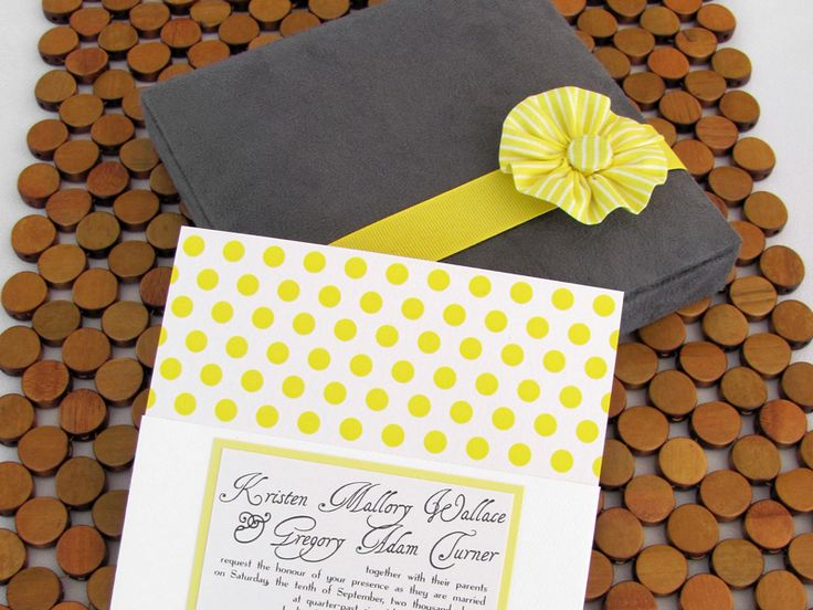 My own... Yellow and gray fabric boxed wedding invitation in polka-dot pattern with hand-sewn fabric flower adornment.: Gray Weddings, Grey Wedding Invitations, Wedding Ideas, Yellowgrayboxedinvitation Hand, Invitation Ideas, Grey Weddings, Dogwood Blossom, Invitation Studio