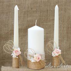 Matrimonio rustico Set candele di unità e bicchieri di Champagne Country Wedding Set Cottage Chic sposa e sposo candele e flauti tostatura