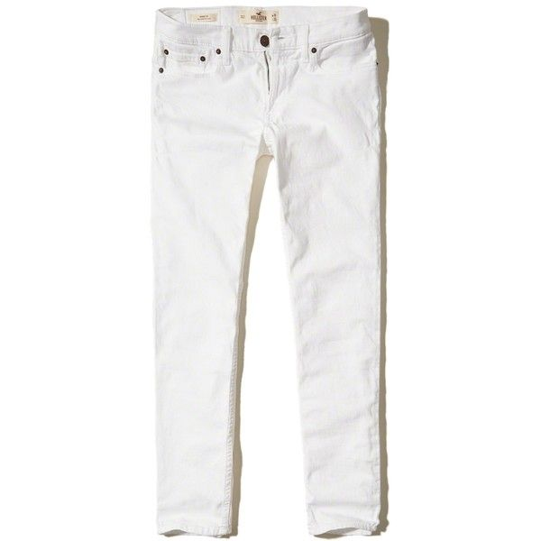 Hollister Skinny Jeans (3,270 INR) ❤ liked on Polyvore featuring men's fashion, men's clothing, men's jeans, white, mens white jeans, mens stretch skinny jeans, mens stretch jeans, mens stretch denim jeans and mens white skinny jeans