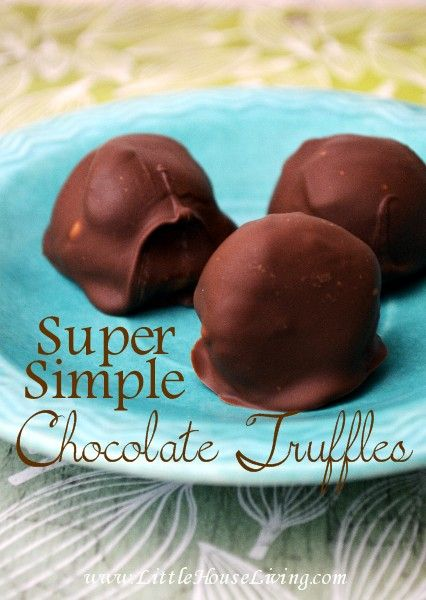 Simple Chocolate Truffles, you only need 2 ingredients to make these and they are INCREDIBLE!
