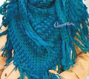 Ярко-синие бактус и шапка крючком - Шали,шарфы,палантины