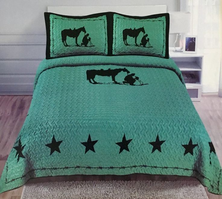 turqoise cowboy u0026 horse western 3 piece bedding set