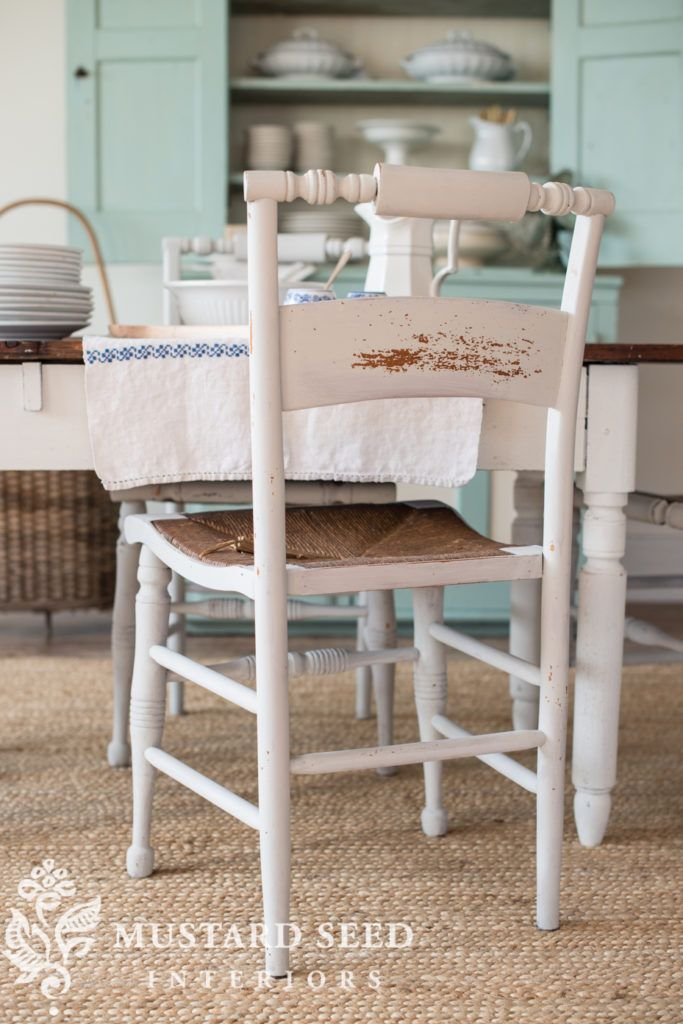 miss mustard seed | farm table and hitchcock chairs makeover    Miss Mustard Seed paint's up a new makeover with some of her favorite antique furniture finds. See how she uses Miss Mustard Seed's Milk Paint to revamp this farmhouse table and hitchcock chairs.