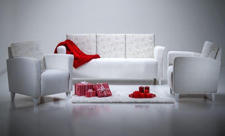 Aino-sohvakalusto. Uutuus! Aino 3-istuttava sohva tai Aino nojatuoli. Valmistettu Suomessa, runkotakuu 10 vuotta, jousistotakuu 10 vuotta