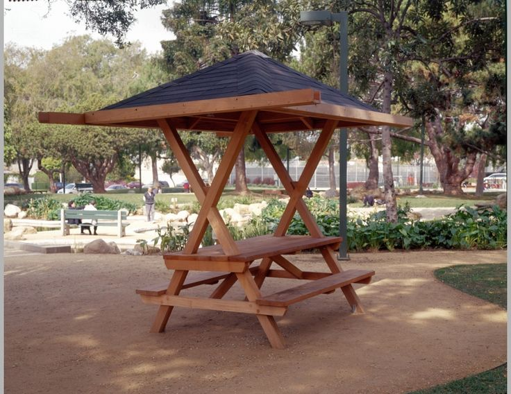 Picnic table with roof, from a park full of different picnic tables