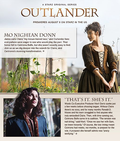 Caitriona Balfe as Claire Randall Fraser from the Outlander Starz newsletter 1 of 2