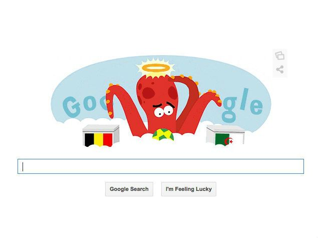 Google's Belgium vs Algeria Doodle Salutes Paul the Octopus, an animal celebrity during World Cup 2010 -- June 17, 2014