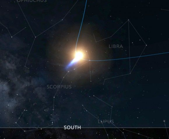 Comet ISON on perihelion day (Nov. 28) seen from the Upper Midwest, U.S. The sun and comet will be in Scorpius. Credit: INOVE