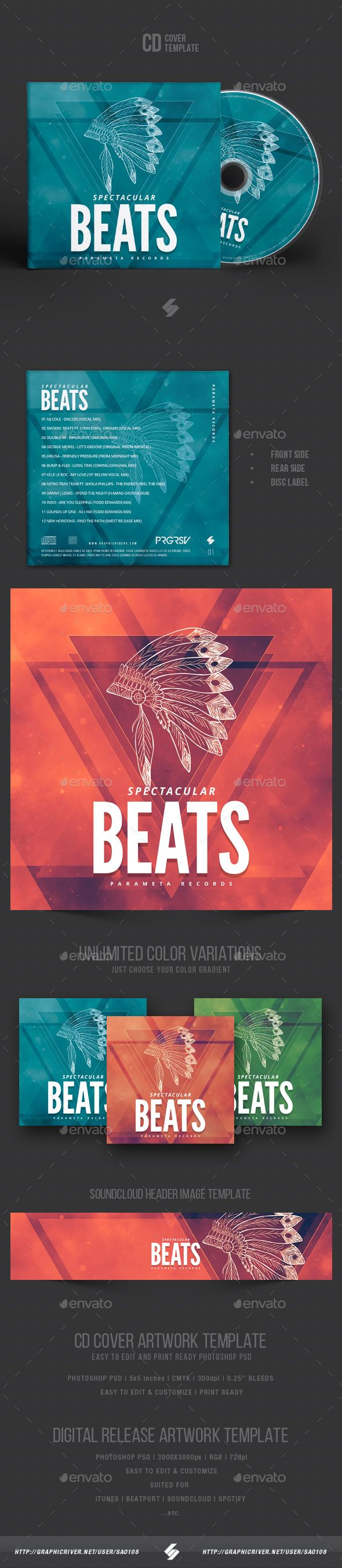 Spectacular Beats  CD Cover Artwork Template — Photoshop PSD #soundcloud #label • Download ➝ https://graphicriver.net/item/spectacular-beats-cd-cover-artwork-template/19937542?ref=pxcr