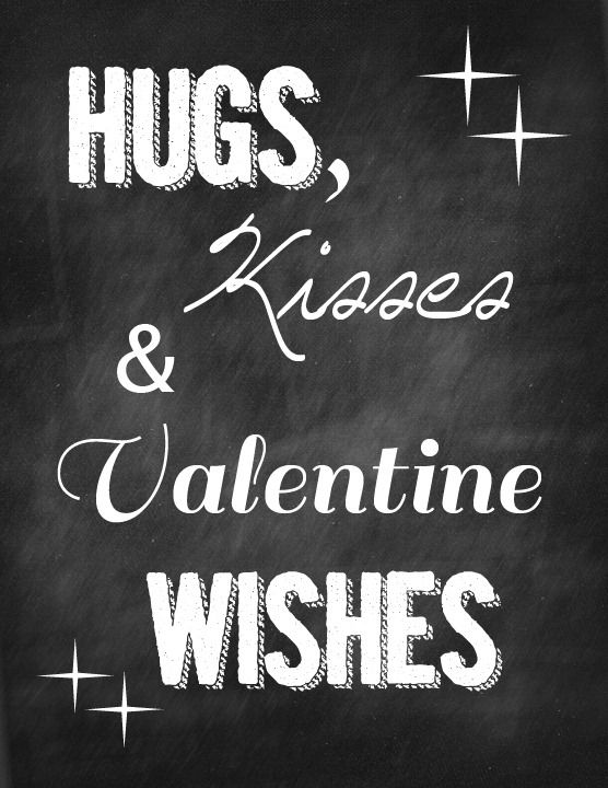 hugs kisses and valentine wishes printable