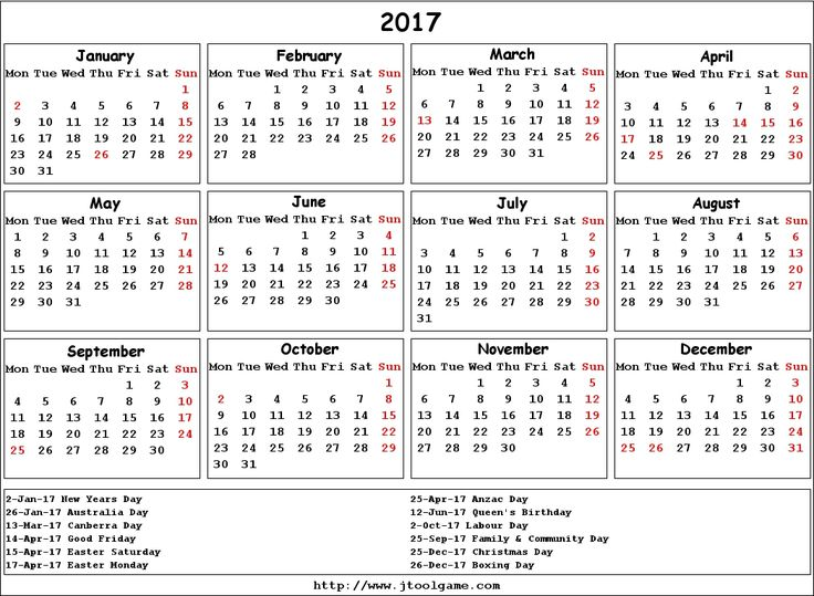 2017 Calendar Australia