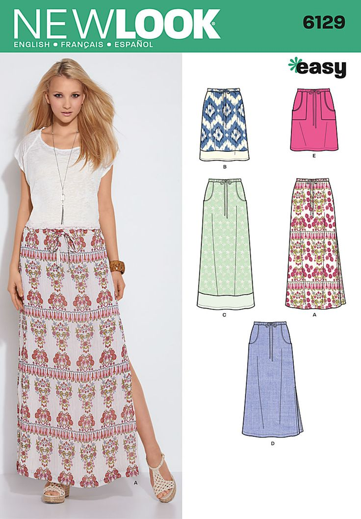 New Look 6129 Simplicity Creative Group - Misses' Skirts Pull-on skirt, drawstring w/ elastic back waist