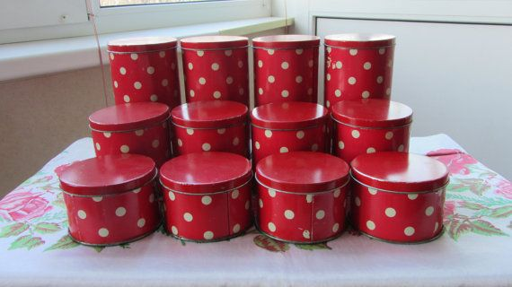 Tin Container Vintage Polka Dots Decor. Vintage Tin by rulentus