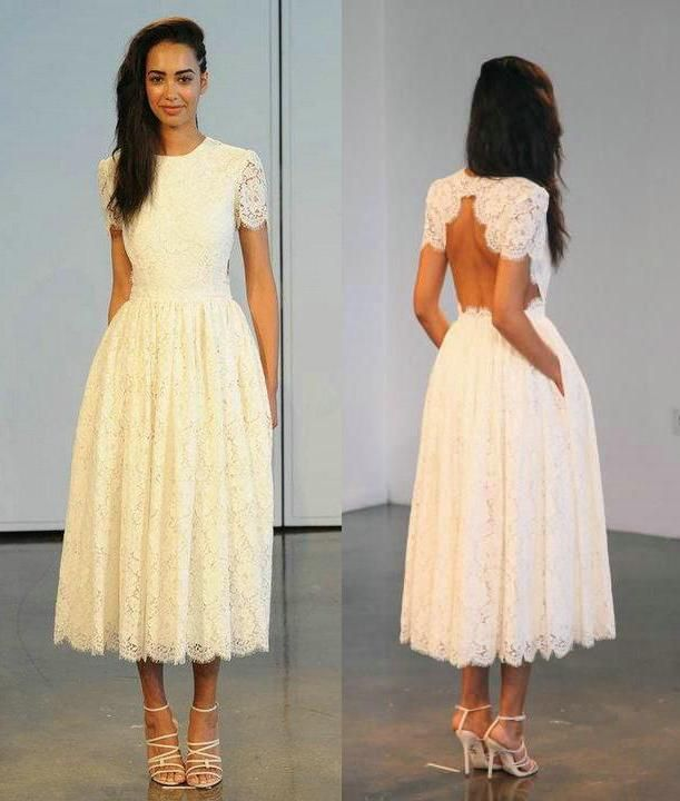 Houghton Tea Length Lace Wedding Dresses 2016 With Sleeves For Women Short Cap Sleeve Backless Hidden Pockets A Line Jewel Neck Bridal Gowns Perfect Wedding Dresses Simple Bridal Dresses From Bestdavid, $120.61  Dhgate.Com