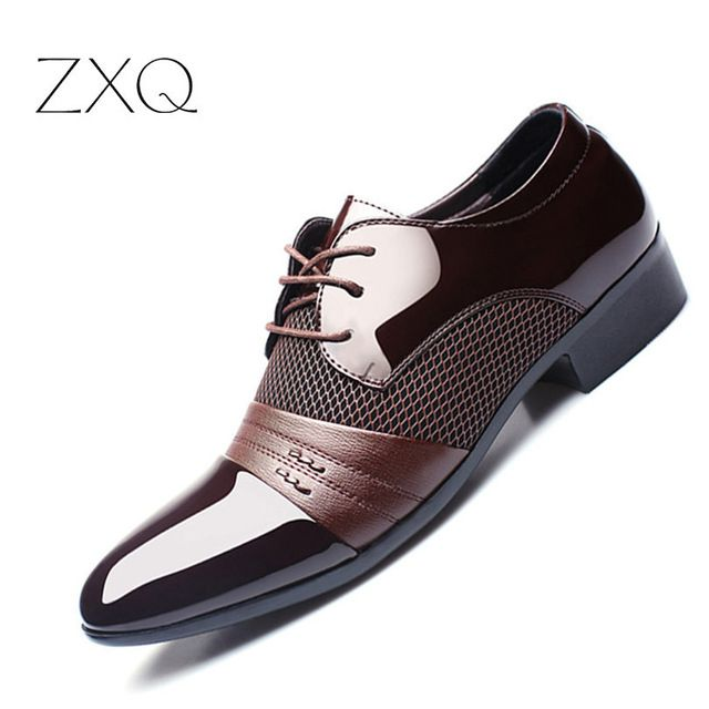 Limited Offer $16.94, Buy ZXQ Men Dress Shoes Plus Size 38-47 Men Business Flat Shoes Black Brown Breathable Low Top Men Formal Office Shoes