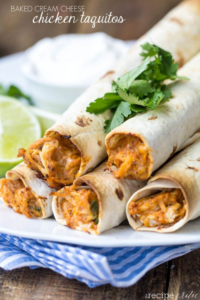 Baked Cream Cheese Chicken Taquitos at http://therecipecritic.com Amazing and easy cream cheese chicken taquitos!