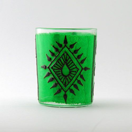 Opal Moon Henna Kiwi Green Small Votive Hennaed Diamond and Paisley Candle Holder $12 Cyber Monday Sale 20% off