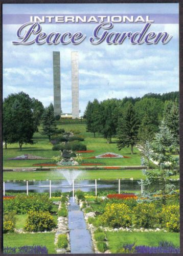 International Peace Garden Twin Towers North Dakota Postcard