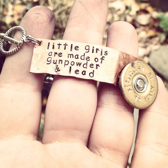 Hand Stamped Tag Girls are made of gunpowder and lead bracelet with shotgun shell accent on Etsy, $31.00