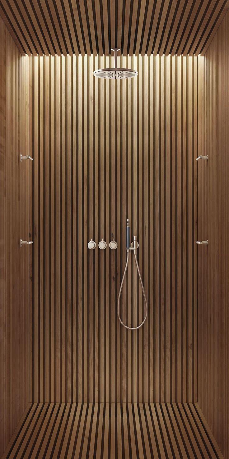 Holzdusche In 2020 Moderne Dusche Wandverkleidung Badezimmer Licht
