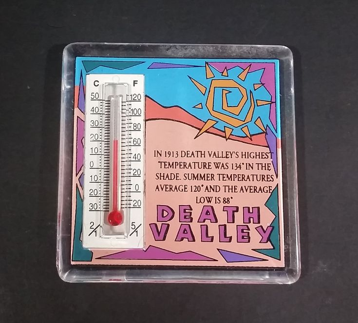 Collectible Death Valley, California Temperature Thermometer Fridge Magnet - Working https://treasurevalleyantiques.com/products/collectible-death-valley-california-temperature-thermometer-fridge-magnet-working #Collectibles #DeathValley #Cali #California #Thermometers #Fridge #Refrigerator #Magnets #Temperatures #Souvenirs #Travel #Tourism #Memorabilia #Hot #VeryHot #Valley