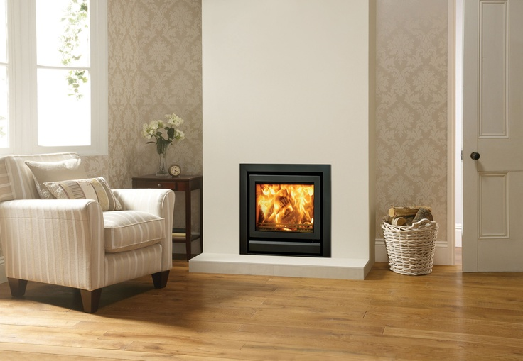 Stovax Riva 50 cassette woodburning and multi-fuel fire with 3-sided frame in Jet Black Metallic. Make the most of your living space with a cassette fire built into your wall. #stovax #fire #cassette #woodburning #multifuel #woodburner