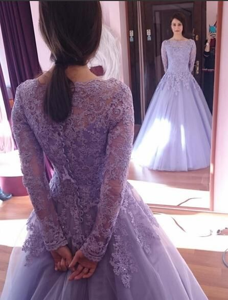 2015 Spring Crystals Long Sleeves Beaded Applique Scoop Tulle Ball Gown Wedding Dresses Colorful Lilac Dress Purple Theme Gowns