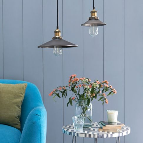 Loaf's new Spangle pendant lights are handcrafted from aluminium and copper suspended beneath black braided flex. This industrial piece looks great hung low over a big, beautiful reclaimed wood kitchen table and comes with a gorgeous filament bulb.