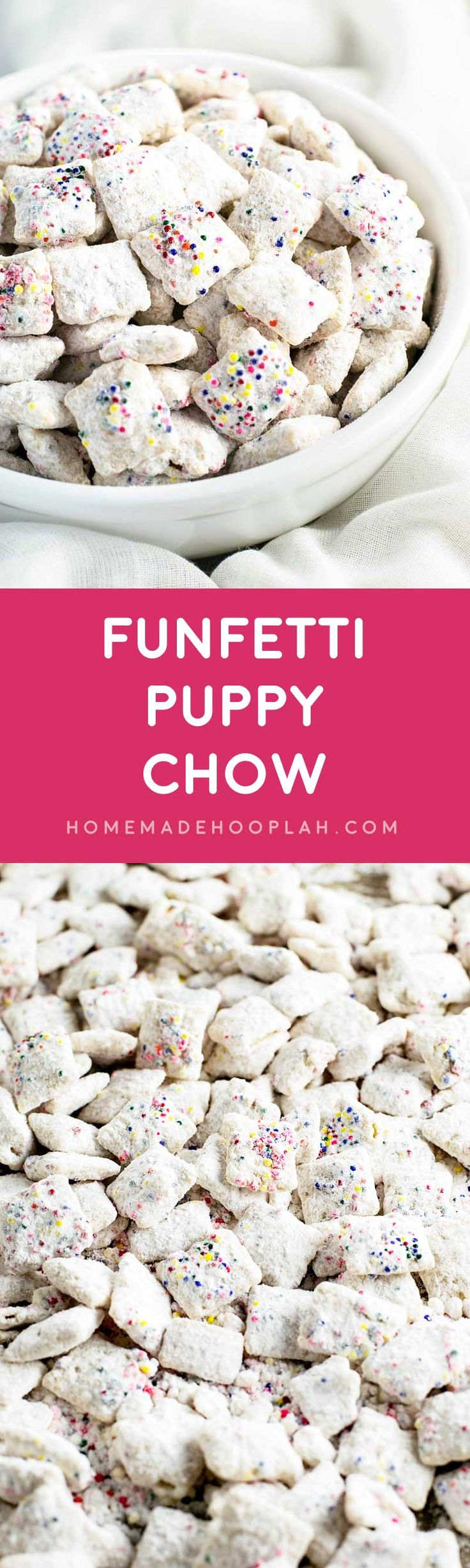 Funfetti Puppy Chow! Chex cereal coated in white candy melts, festive sprinkles, and dusted with a sweetened white cake mix. | HomemadeHooplah.com