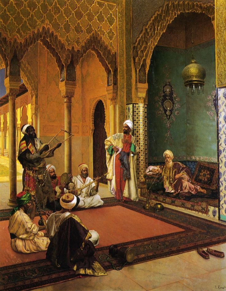 The Athenaeum - Traveling Musicians Playing for the Sultan (Rudolf Ernst - )