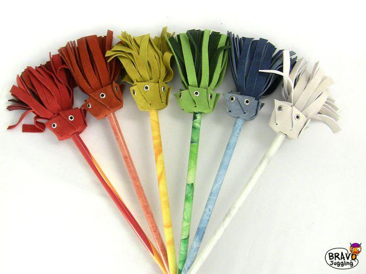 BravoStick Elements - leather-tassels devilstick / flowerstick- from Bravo Juggling order: bravojuggling@gmail.com
