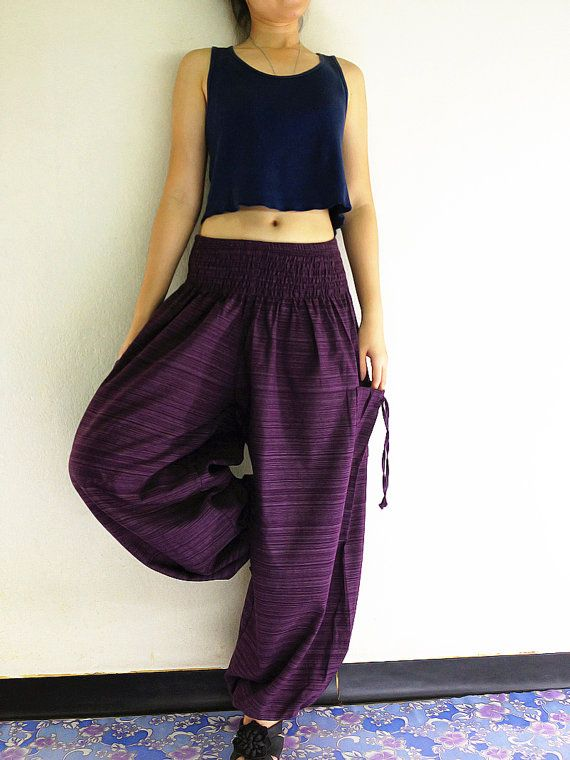 Women Harem Pants Yoga Pants Aladdin Pants Maxi Pants Baggy Pants Gypsy Pants Clothing Drop Crotch Trouser Cotton Pants Purple (TCC19)