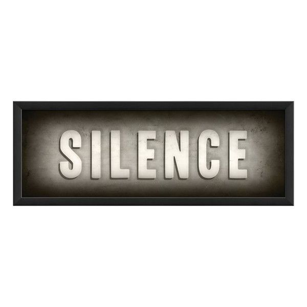 Spicher and Company 'Silence' Vintage Look Theater Sign Artwork ($110) ❤ liked on Polyvore featuring home, home decor, wall art, words, text, signs, quotes, filler, black and phrase