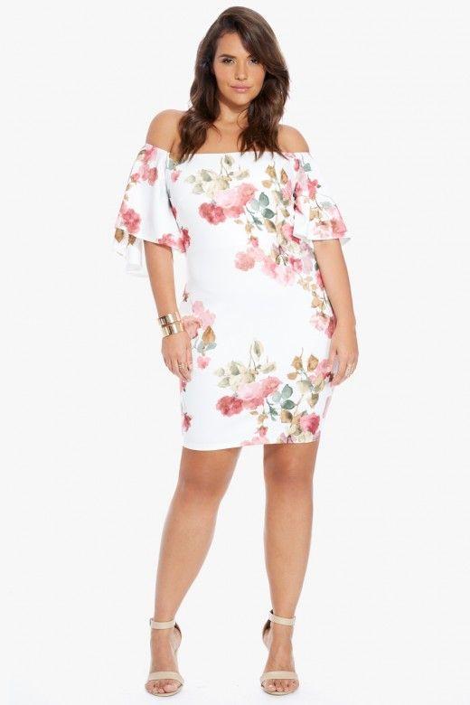 7c2509c8173ae ... plus size botanique off shoulder floral dress ...