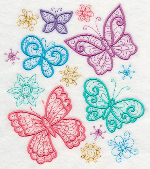 Flight of the butterflies  embroidery designs
