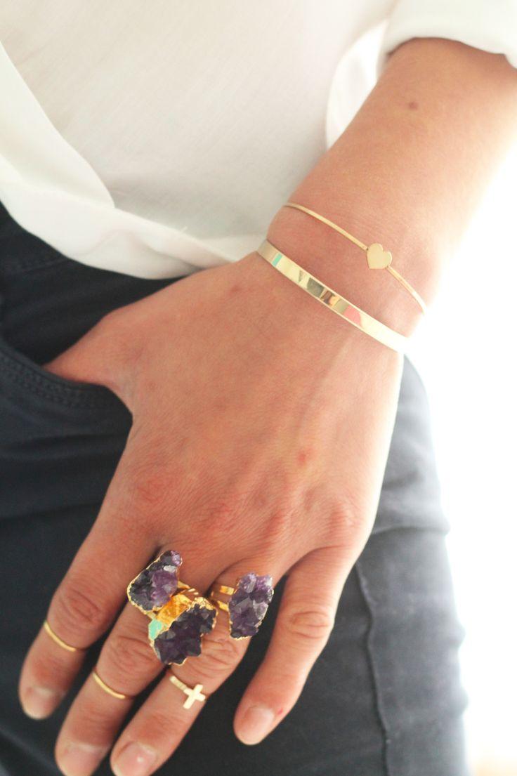 Inspiration bagues roche Améthyste bagues de phalanges bracelets