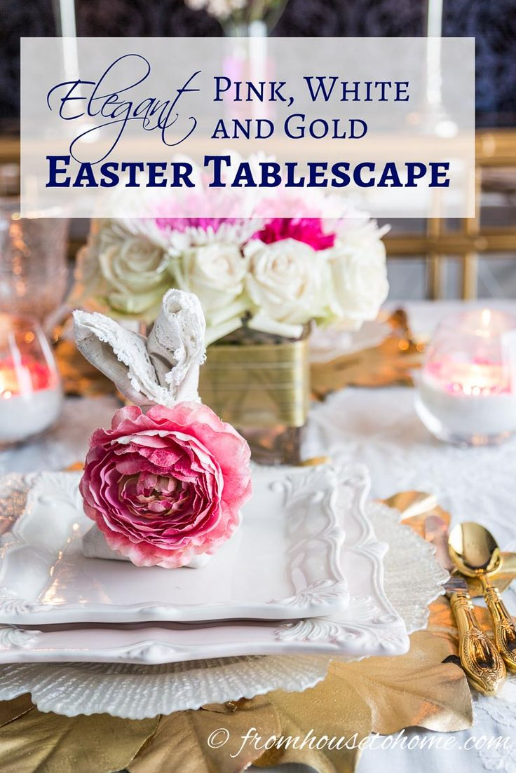 Elegant Pink and White Easter Tablescape | If you're looking for Easter tablescape ideas, this pink and white table setting is perfect!