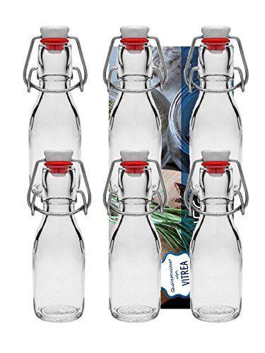 20er Set Bügelflaschen Bügelflasche Glasflaschen 100ml mit Bügelverschluss zum Selbstbefüllen inklusive einem Einfülltrichter Durchmesser 5 cm Vitrea