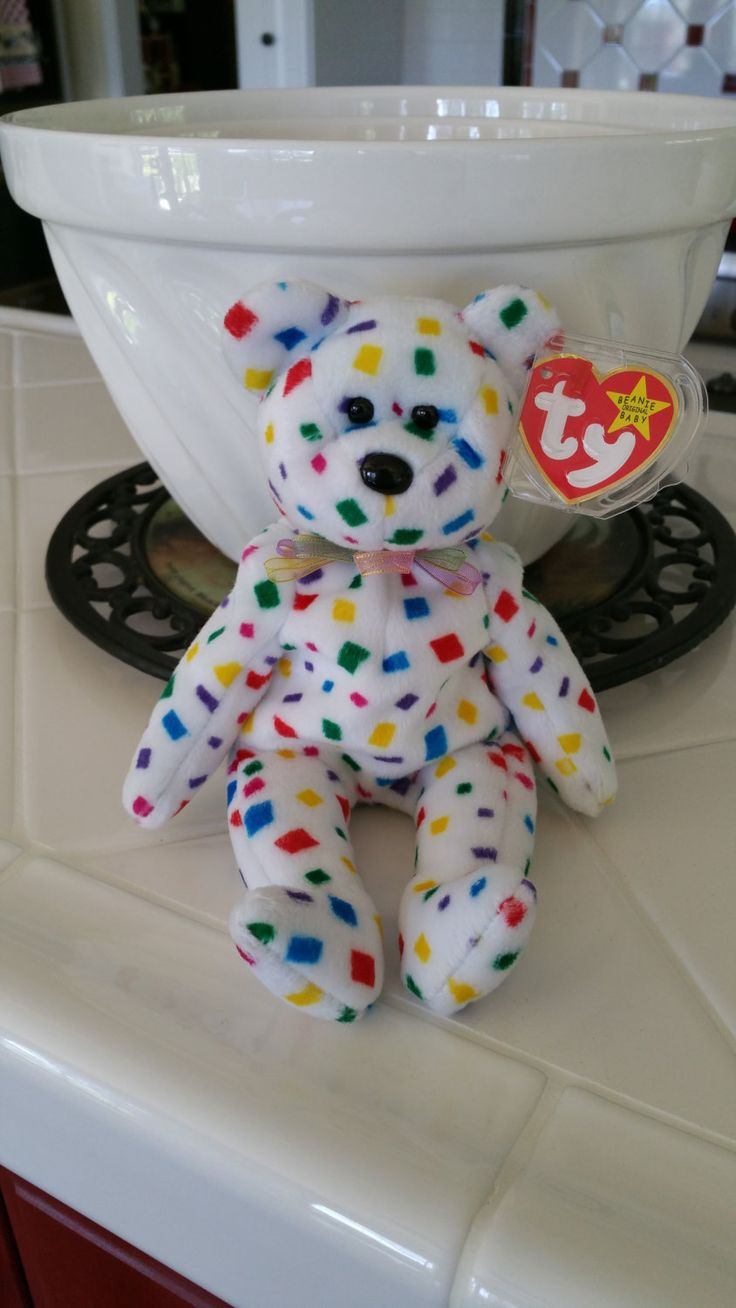 Confetti Ty 2K Bear Original Beanie Baby Collectible Plush Girl Boy Toy Hanukkah…