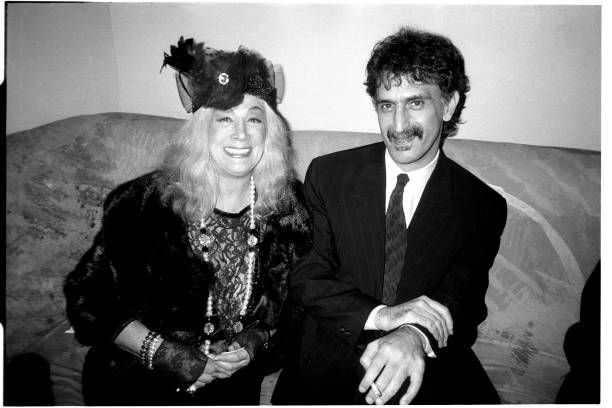 Sylvia Miles and Frank Zappa at the Mirror Rep Benefit. October 27, 1986.